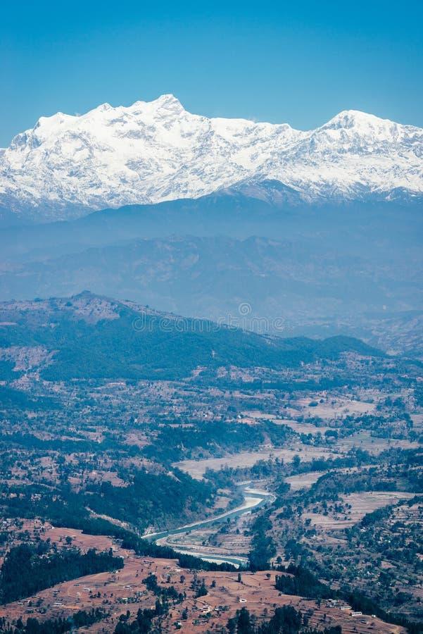 Mening over het Himalayagebergte in Nepal royalty-vrije stock afbeelding