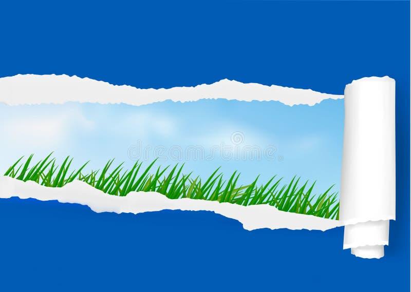 Mening over het landschap door gescheurd document. vector illustratie