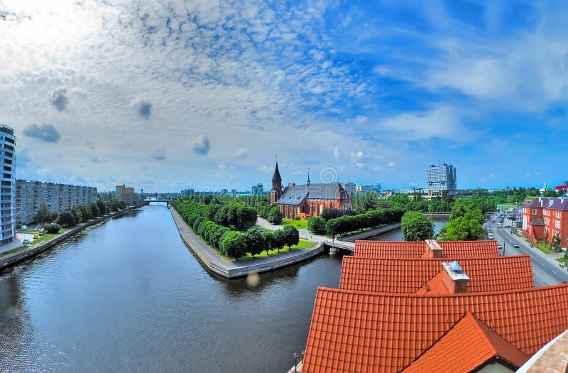 Mening over historisch centrum in Kaliningrad Rusland stock fotografie