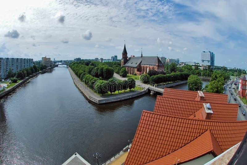 Mening over historisch centrum in Kaliningrad Rusland royalty-vrije stock foto's