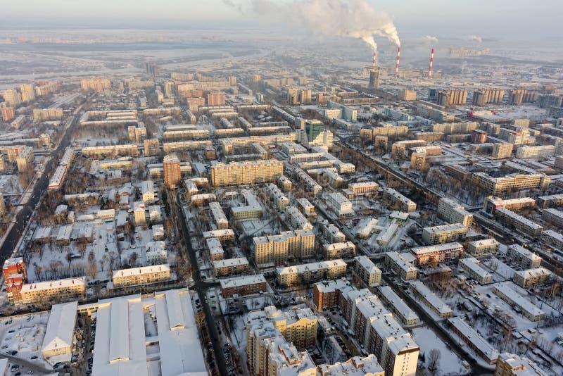 Mening over Holodilnaya-straatdistrict Tyumen Rusland royalty-vrije stock afbeeldingen