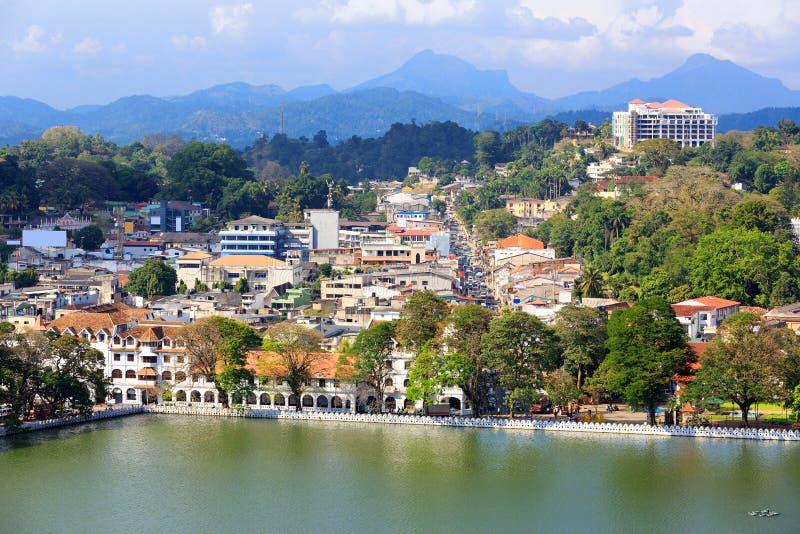 Mening over Kandy-Stad royalty-vrije stock fotografie
