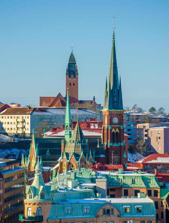 Mening over kleurrijke kerken en daken van Gothenburg tijdens de Winter royalty-vrije stock afbeeldingen