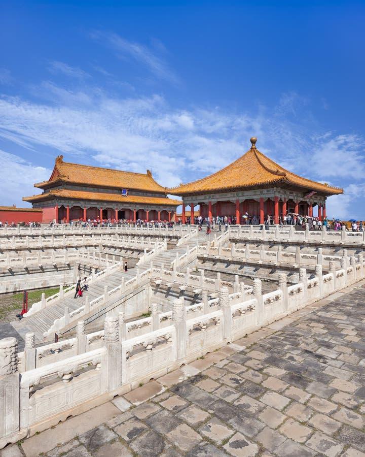 Mening over majestueus paviljoen, Paleismuseum, Peking, China royalty-vrije stock fotografie