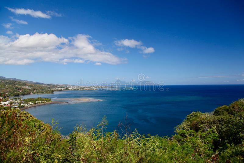 Mening over Moorea, het eiland van Tahiti, Franse polynesia, dicht bij bora-Bora stock fotografie