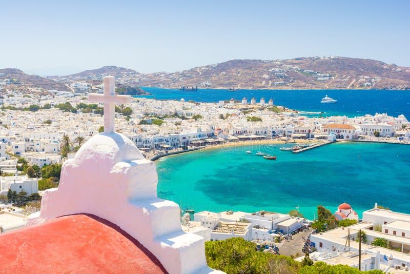Mening over Mykonos-eiland, Cycladen, Griekenland stock fotografie