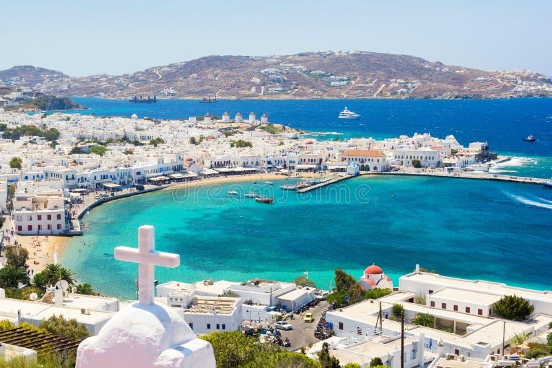 Mening over Mykonos-eiland, Cycladen, Griekenland stock afbeelding