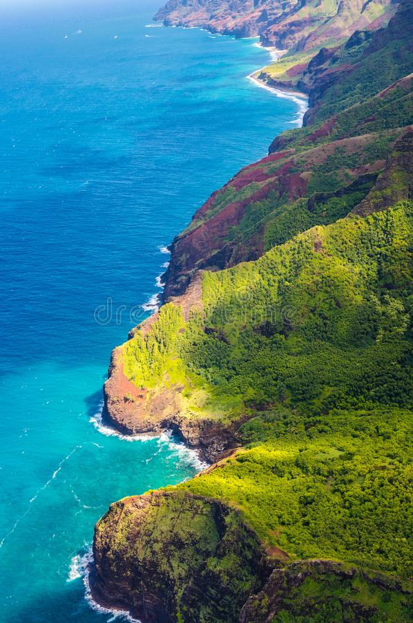Mening over Napali-Kust op het eiland van Kauai op Hawaï stock afbeeldingen