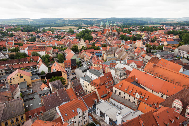 Mening over Naumburg (Saale) royalty-vrije stock foto