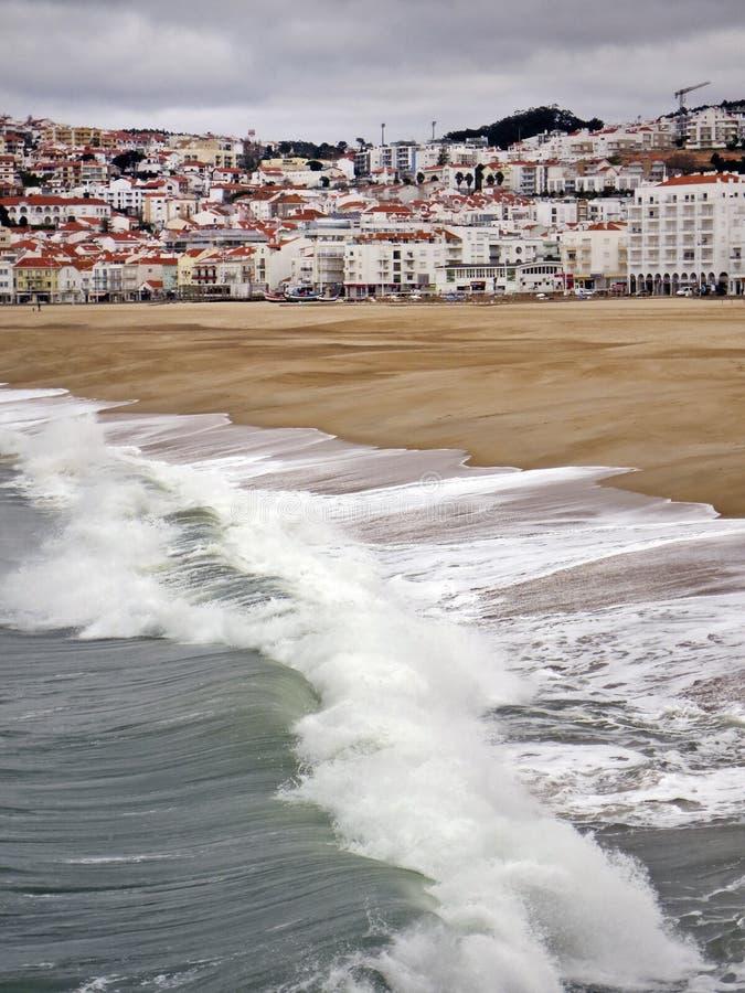 Mening over Nazare, Portugal royalty-vrije stock foto