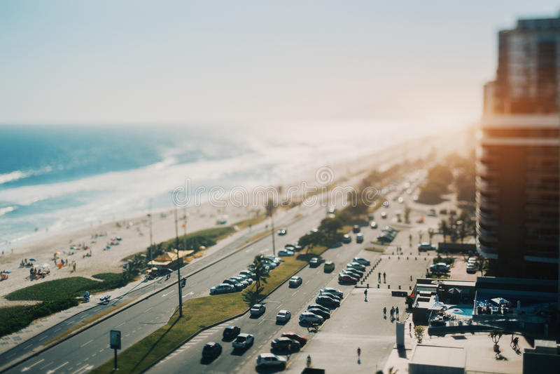 Mening over oceaan, strand, kustlijn van Rio de Janeiro royalty-vrije stock afbeelding