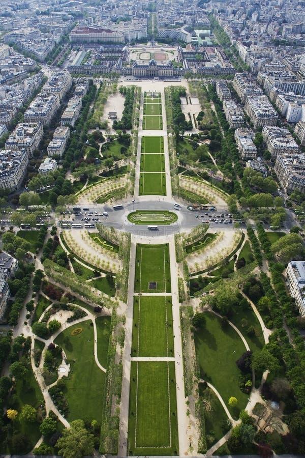 Mening over Parc du Champ stock afbeelding