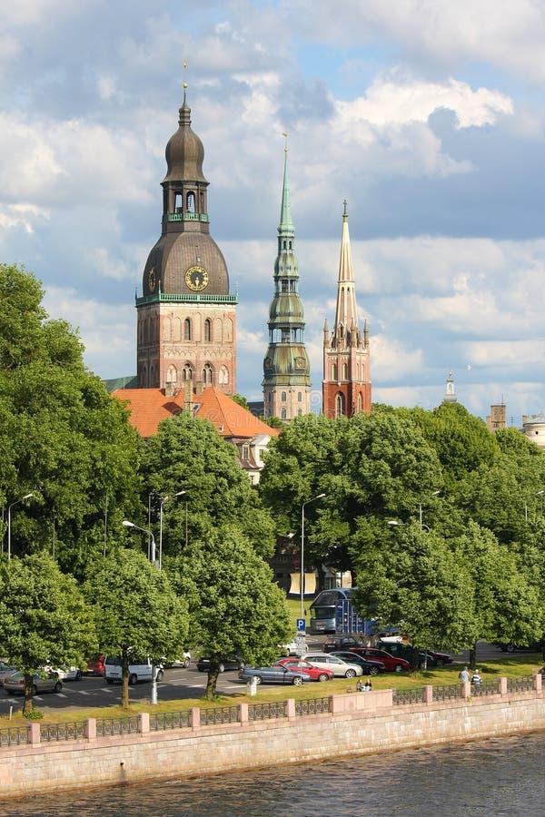 Mening over Riga, Letland stock afbeelding