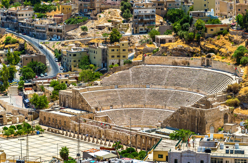 Mening over Roman Theater in Amman royalty-vrije stock afbeeldingen