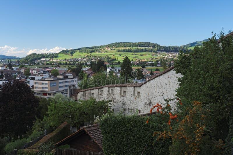 Mening over Thun van het Thun-Kasteel (Zwitserland) royalty-vrije stock afbeeldingen