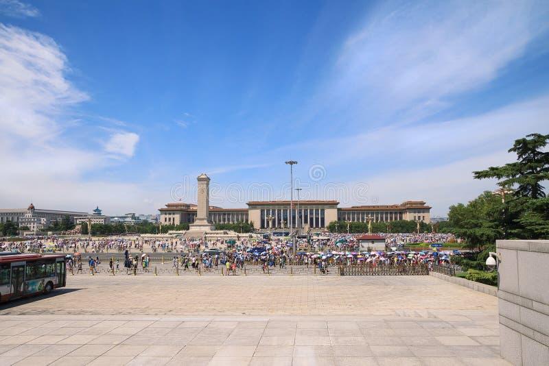 Mening over Tiananmen-Vierkant en de Grote Zaal van de Mensen in Bei royalty-vrije stock afbeeldingen