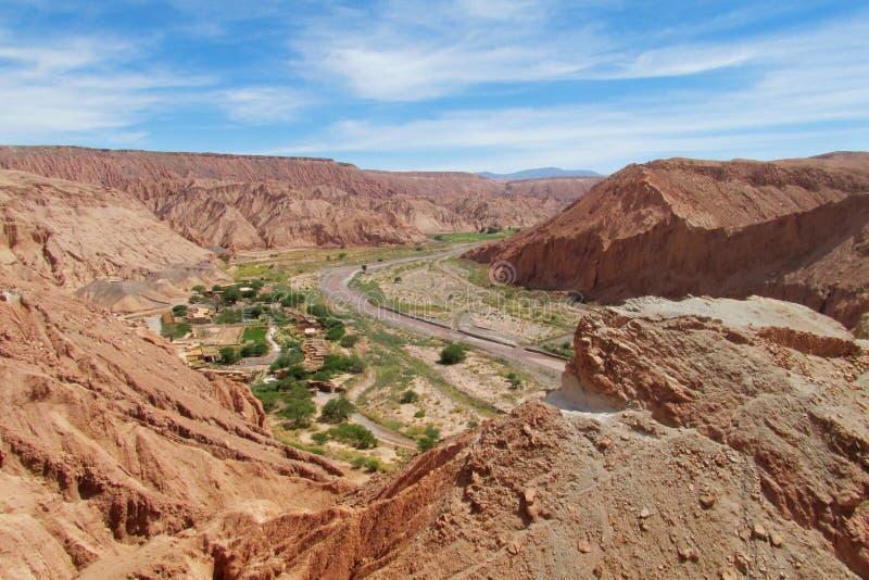Mening over valle Quitor, San Pedro de Atacama royalty-vrije stock afbeelding
