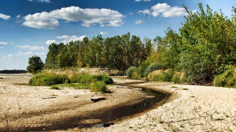 Mening over wilde Vistula-rivieroever in Jozefow dichtbij Warshau in Polen royalty-vrije stock afbeelding