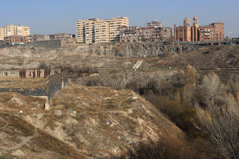 Mening over Yerevan stock foto's