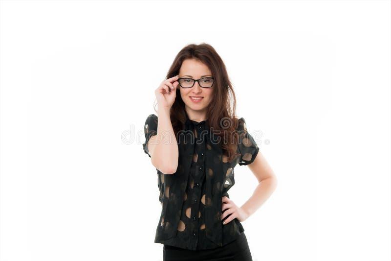 mening sexigt Kvinnlig affärsidé säker chef för affär Kvinnaglasögon attraktiv lärare eller föreläsare arkivfoton