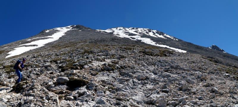 Mening tot de bovenkant van een 3000 m-berg in het dolomiet stock afbeelding