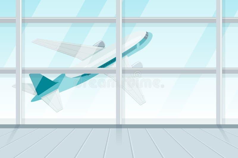 Mening uit luchthaven eindvenster op startvliegtuig Vliegende jet, vector 3d isometrische sytleillustratie vector illustratie