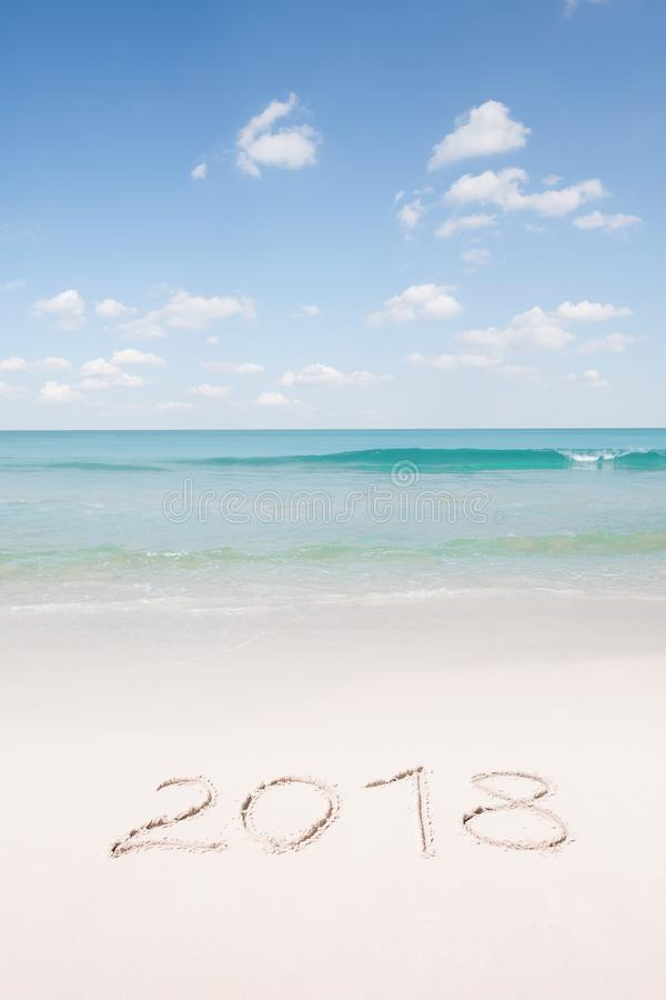 Mening van aardige Kerstmis en het nieuwe tropische strand van het jaarthema stock afbeelding