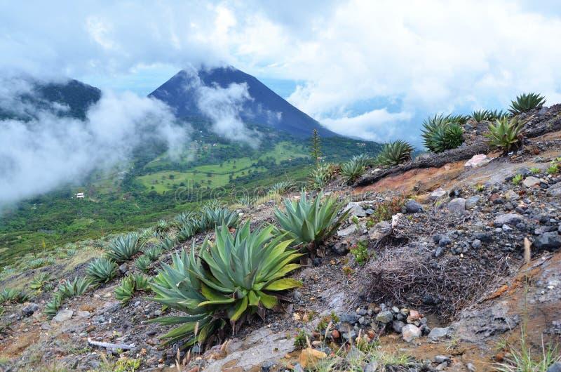 Mening van actieve vulkaan Yzalco, in de wolken royalty-vrije stock afbeelding