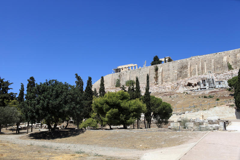 Mening van Akropolis van Athene royalty-vrije stock foto's