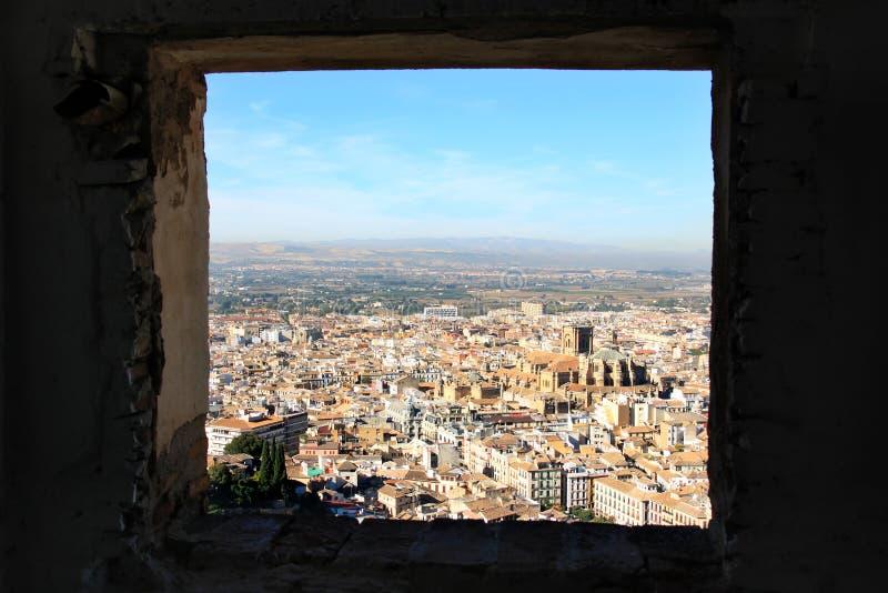 Mening van Alcazaba, Alhambra, Granada, Spanje stock fotografie