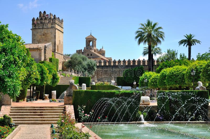 Mening van Alcazar en Kathedraalmoskee van Cordoba, Spanje royalty-vrije stock foto