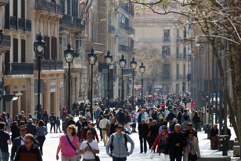 Mening van Barcelona, Portal del Angel weg stock foto