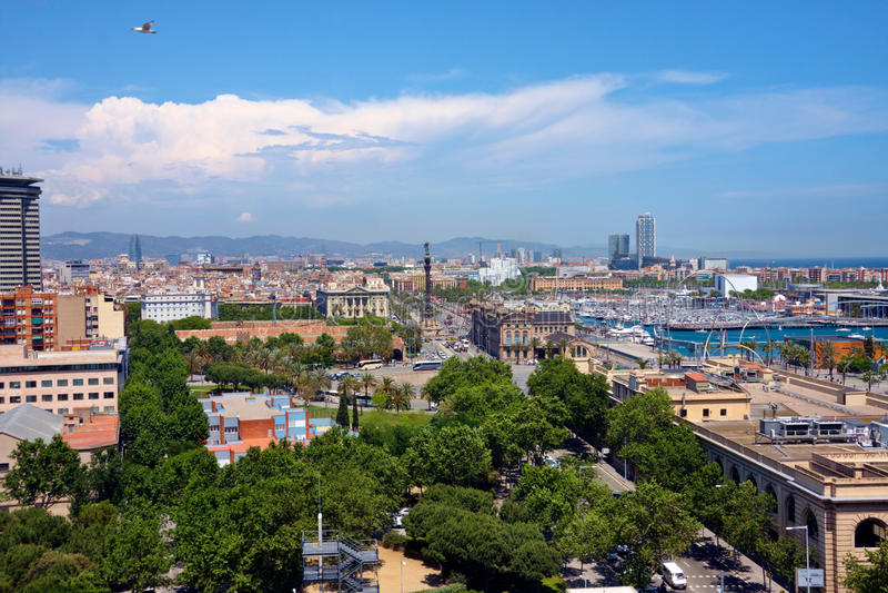 Mening van Barcelona van hierboven stock afbeeldingen
