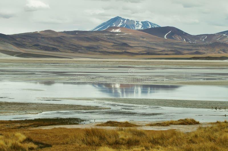 Mening van bergen en het zoute Meer van Aguas calientes in Sico-Pas royalty-vrije stock foto's