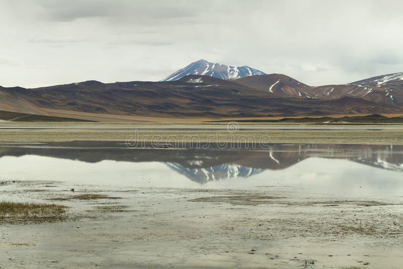 Mening van bergen en het zoute Meer van Aguas calientes in Sico-Pas, stock afbeeldingen
