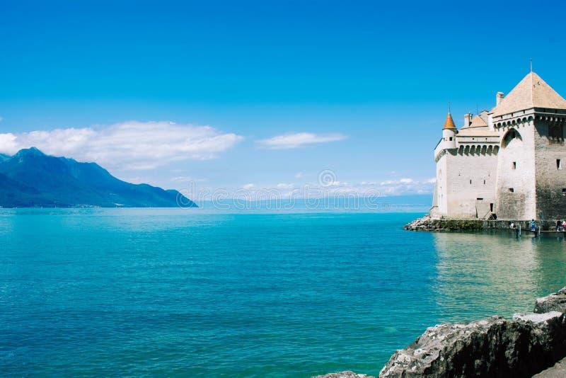 Mening van beroemde chateau DE Chillon, Zwitserland stock foto