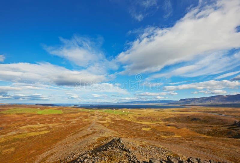 Mening van Borgarvirki, IJsland royalty-vrije stock afbeelding