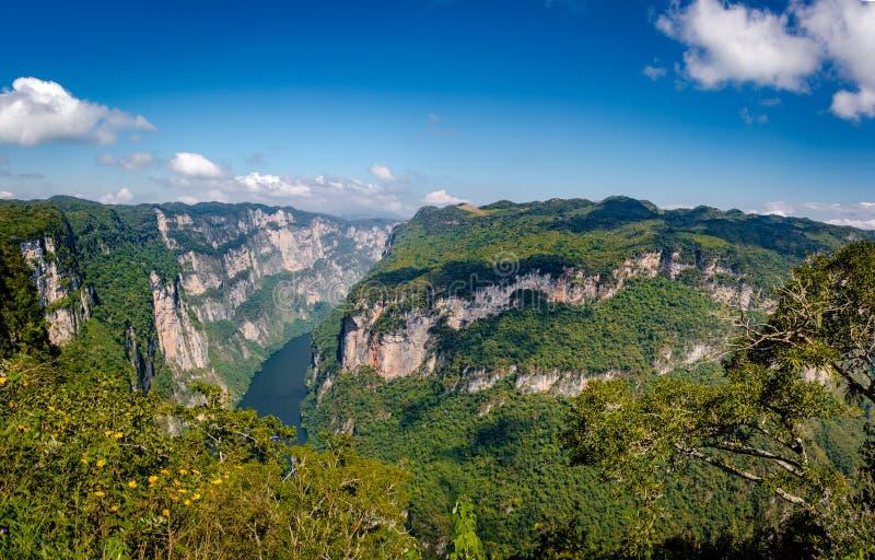 Mening van boven de Sumidero-Canion - Chiapas, Mexico stock fotografie