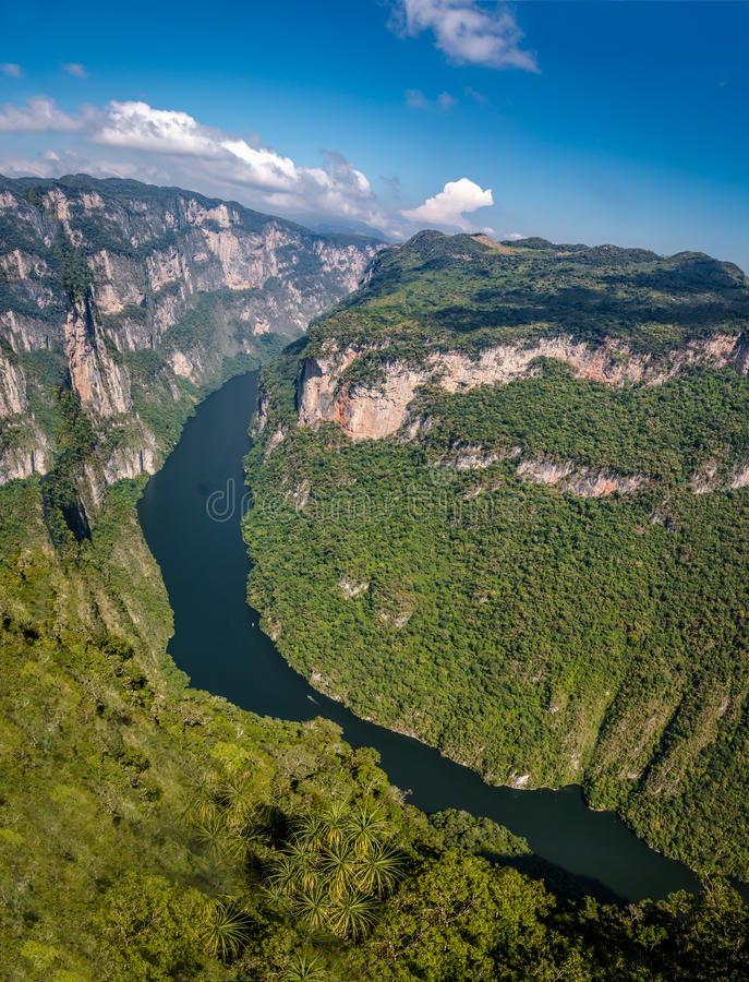Mening van boven de Sumidero-Canion - Chiapas, Mexico royalty-vrije stock foto's