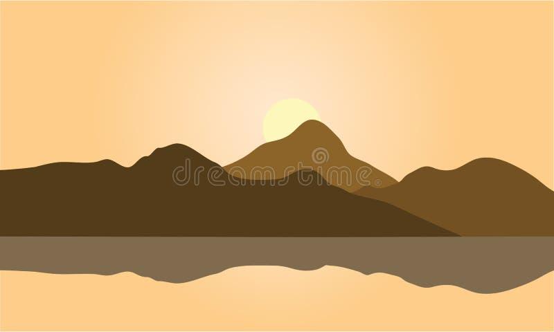 Mening van bruin bergsilhouet vector illustratie