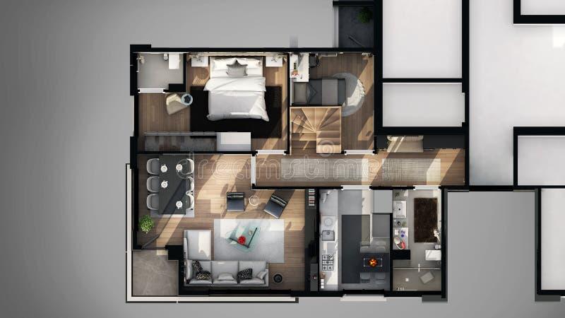 Mening van buiten 3D ontworpen vloerplan royalty-vrije illustratie