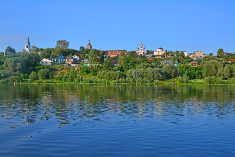 Mening van centraal deel van Kasimov-stad, Rusland stock foto's