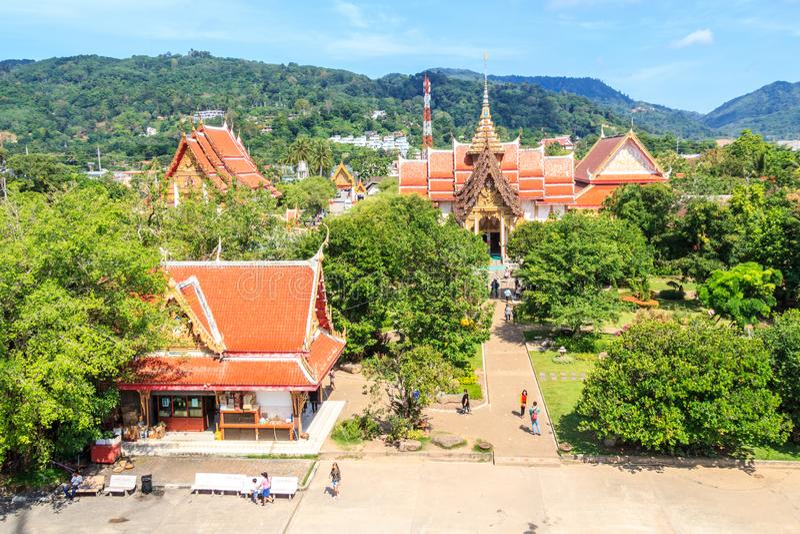 Mening van Chalong-tempel royalty-vrije stock afbeelding