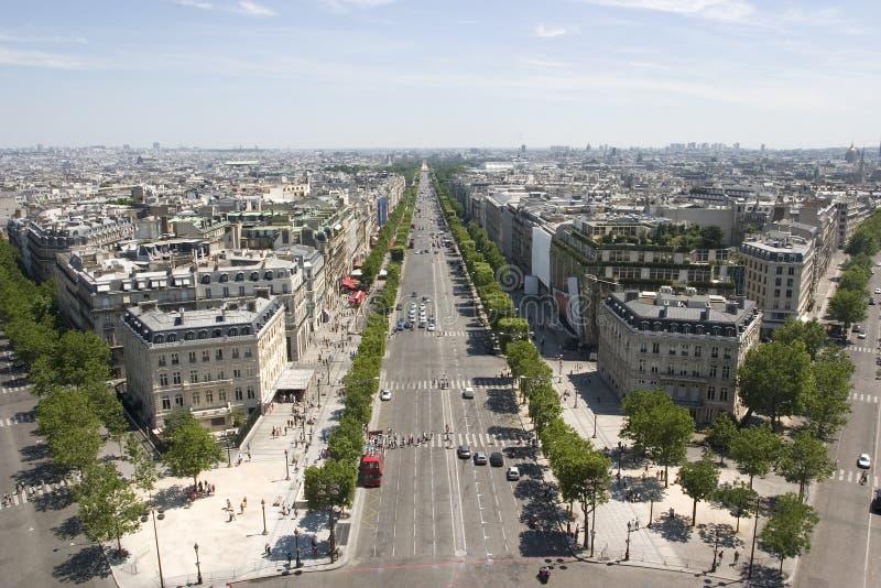 Mening van Champs Elysees in Parijs, Frankrijk stock fotografie