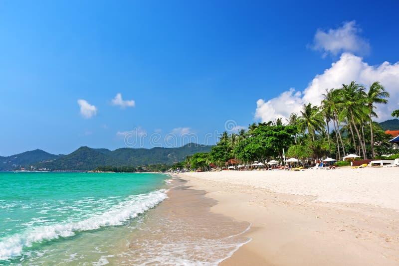 Mening van Chaweng-strand, Koh Samui Thailand stock foto