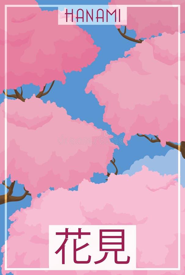 Mening van Cherry Tree Branches met Gebloeide Bloemblaadjes in Hanami, Vectorillustratie stock illustratie