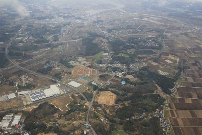 Mening van Chiba bij vliegtuig stock foto's