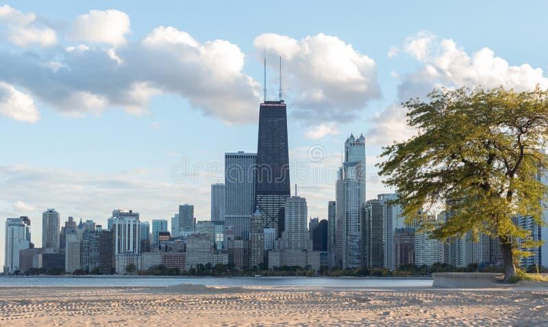 Mening van Chicago van de binnenstad royalty-vrije stock foto's