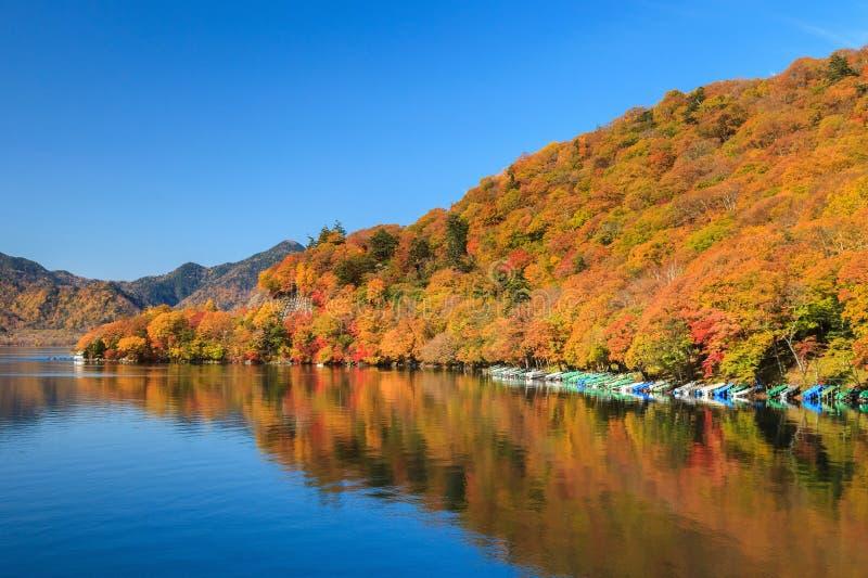 Mening van Chuzenji-meer in de herfstseizoen met bezinnings binnen water stock foto