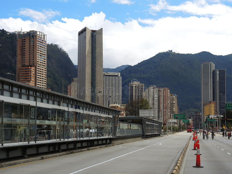 Mening van Ciclovia in Bogota, Colombia stock afbeeldingen